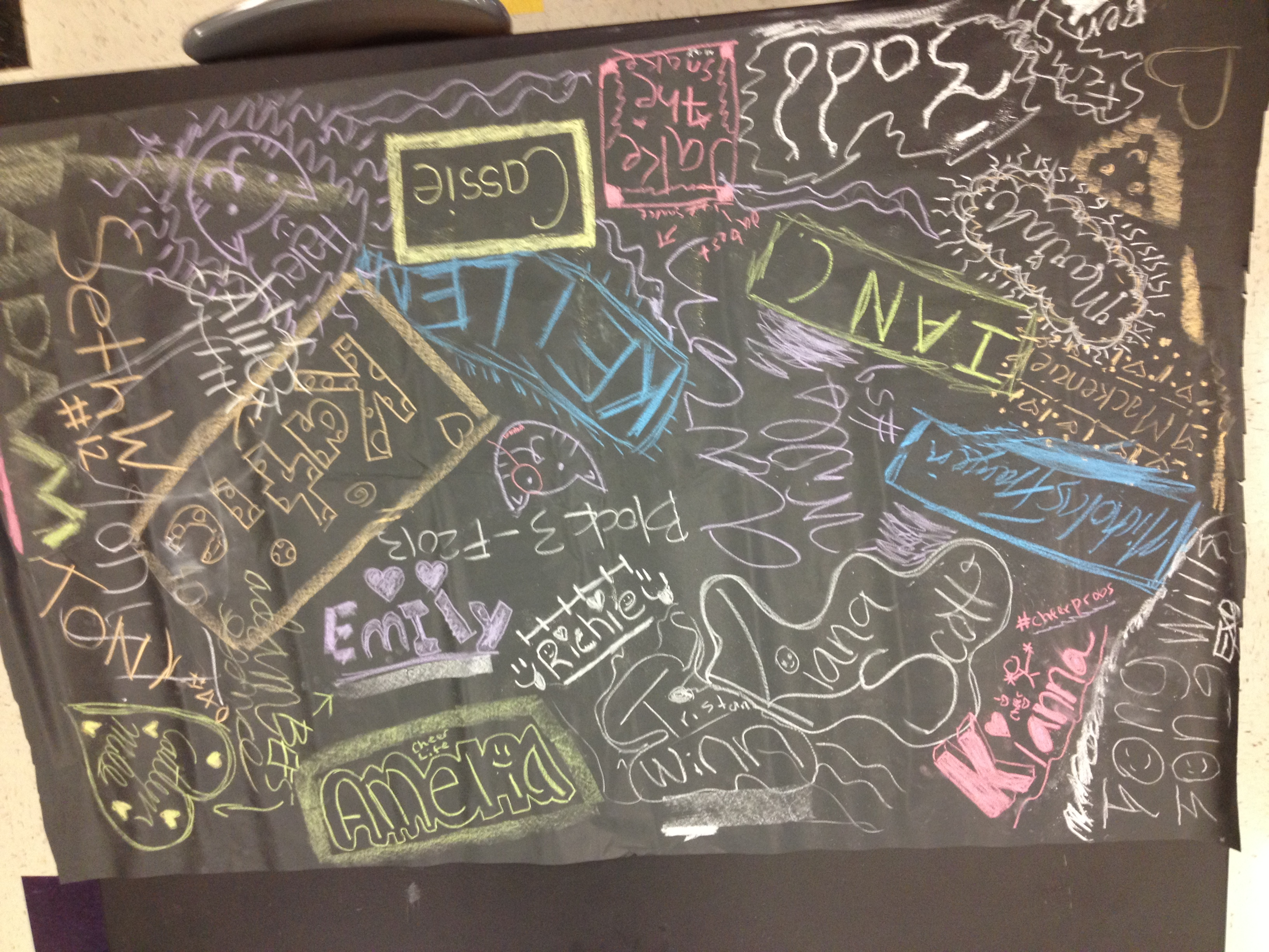Block 3's Chalk Art - so many billions of molecules of CaCO3!